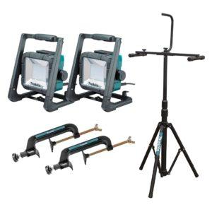 Makita 18V Mobile LED Work Light Kit / Inc Tripod & 2 Clamps