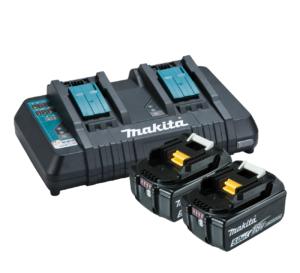 Makita 18V Same Time Dual Port Rapid Battery Charger - Kit / with X2 5.0Ah Batteries